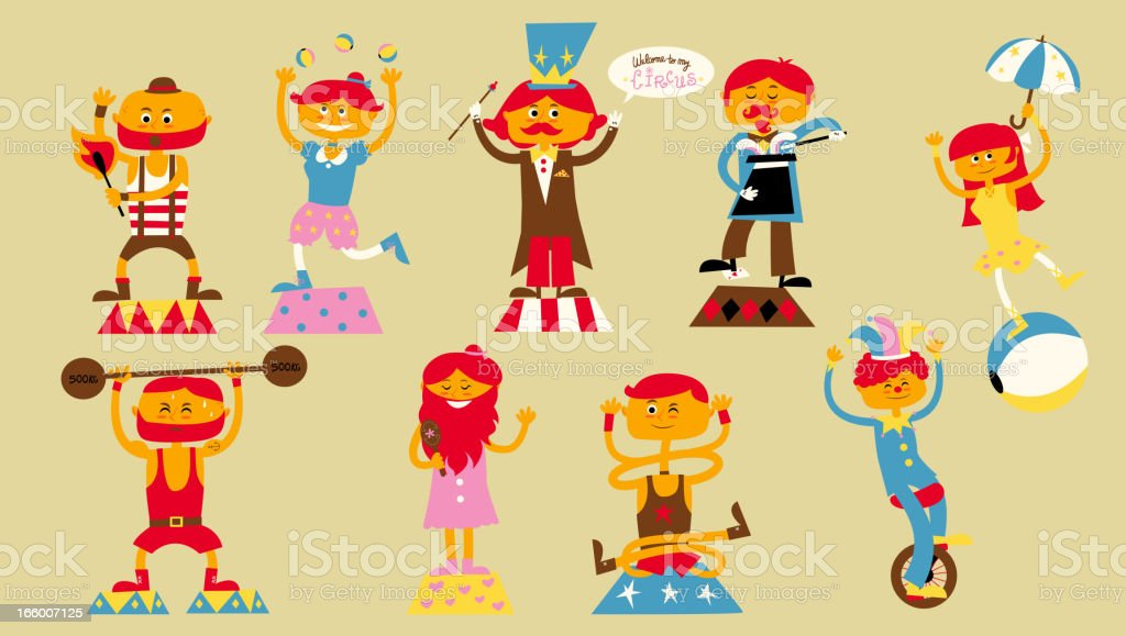 Circus Characters royalty-free stock vector art
