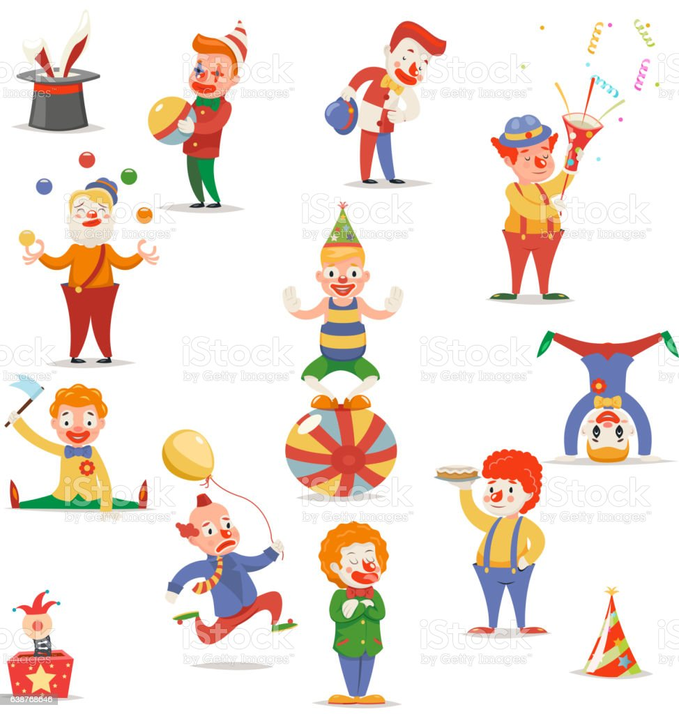 Circus Clowns Cute Funny Different Positions and Actions Character Icons vector art illustration