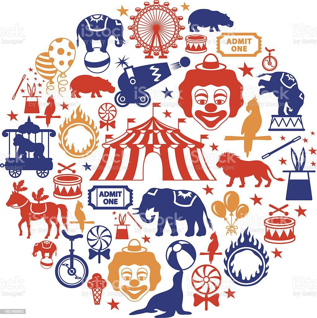 Circus Collage vector art illustration