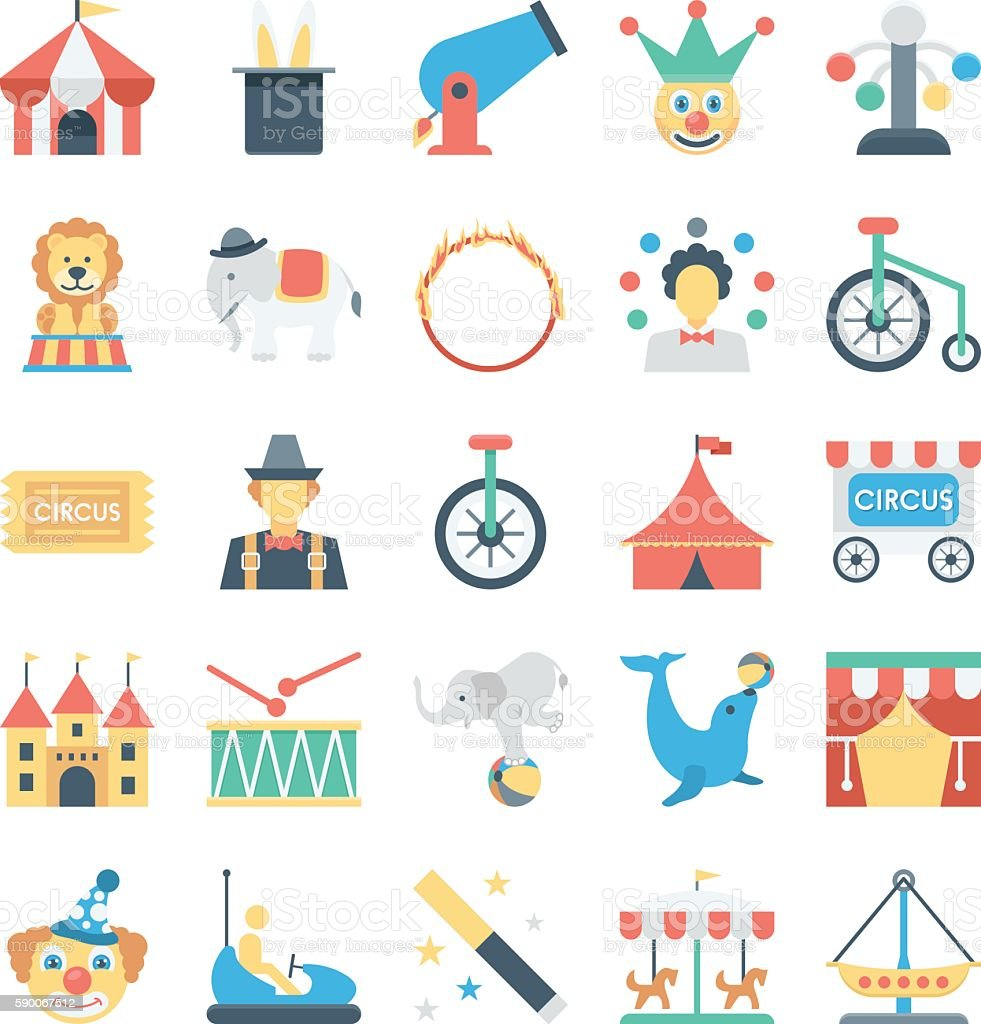 Circus Colored Vector Icons 1 vector art illustration
