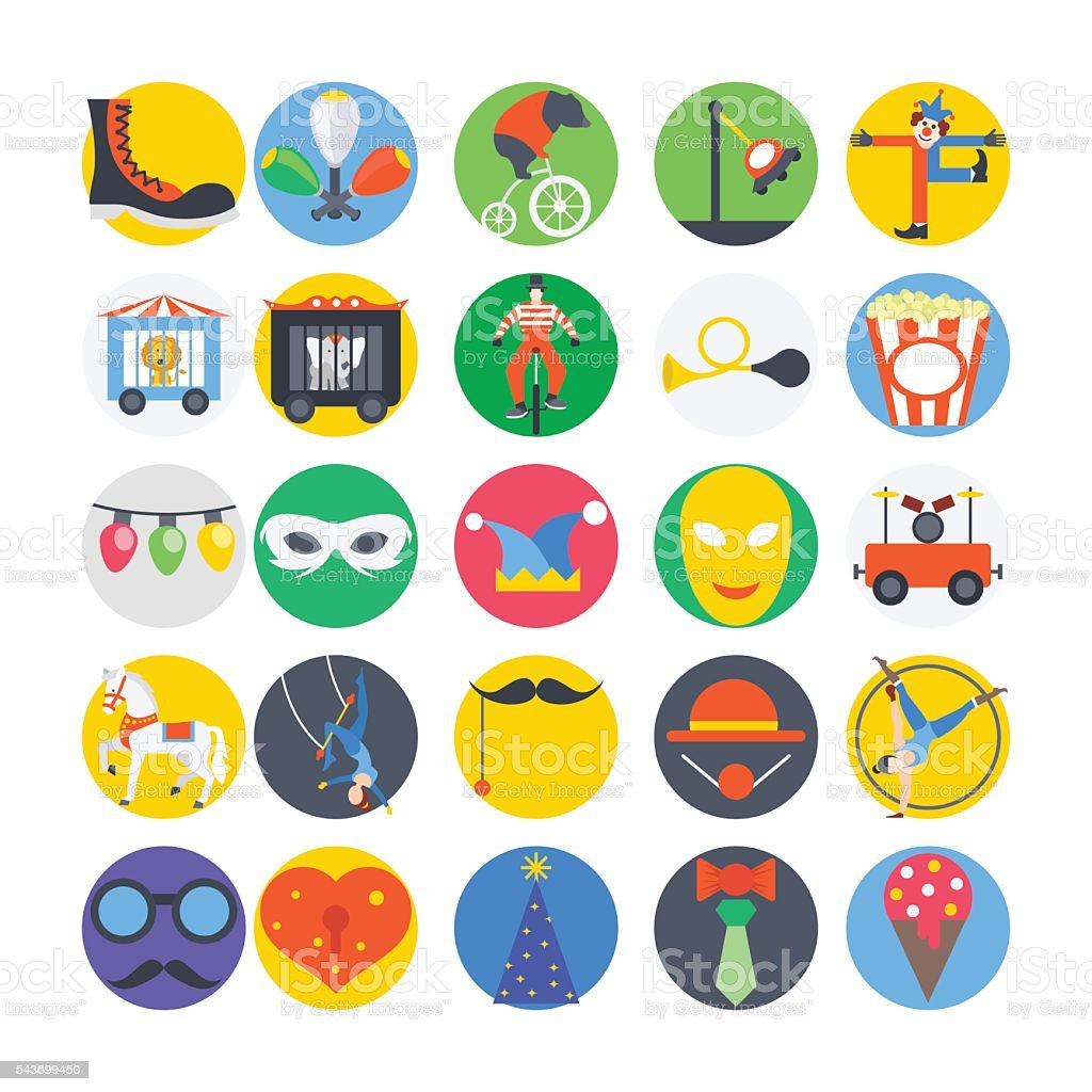 Circus Colored Vector Icons 3 vector art illustration