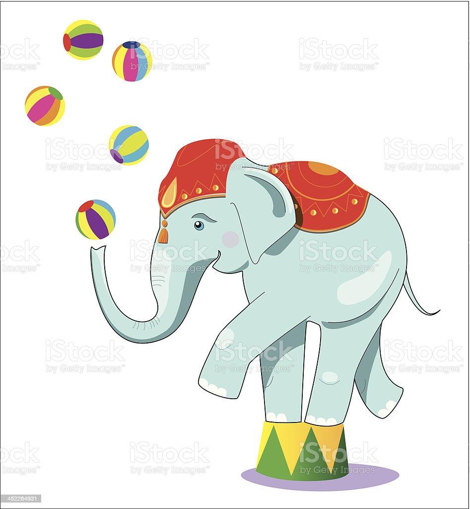 Circus elephant as acrobat royalty-free stock vector art