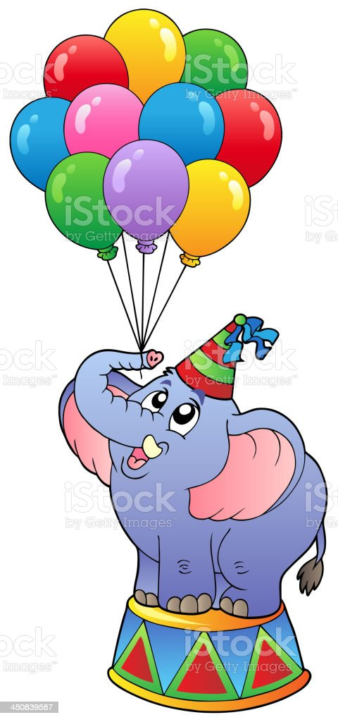 Circus elephant with balloons 1 royalty-free stock vector art