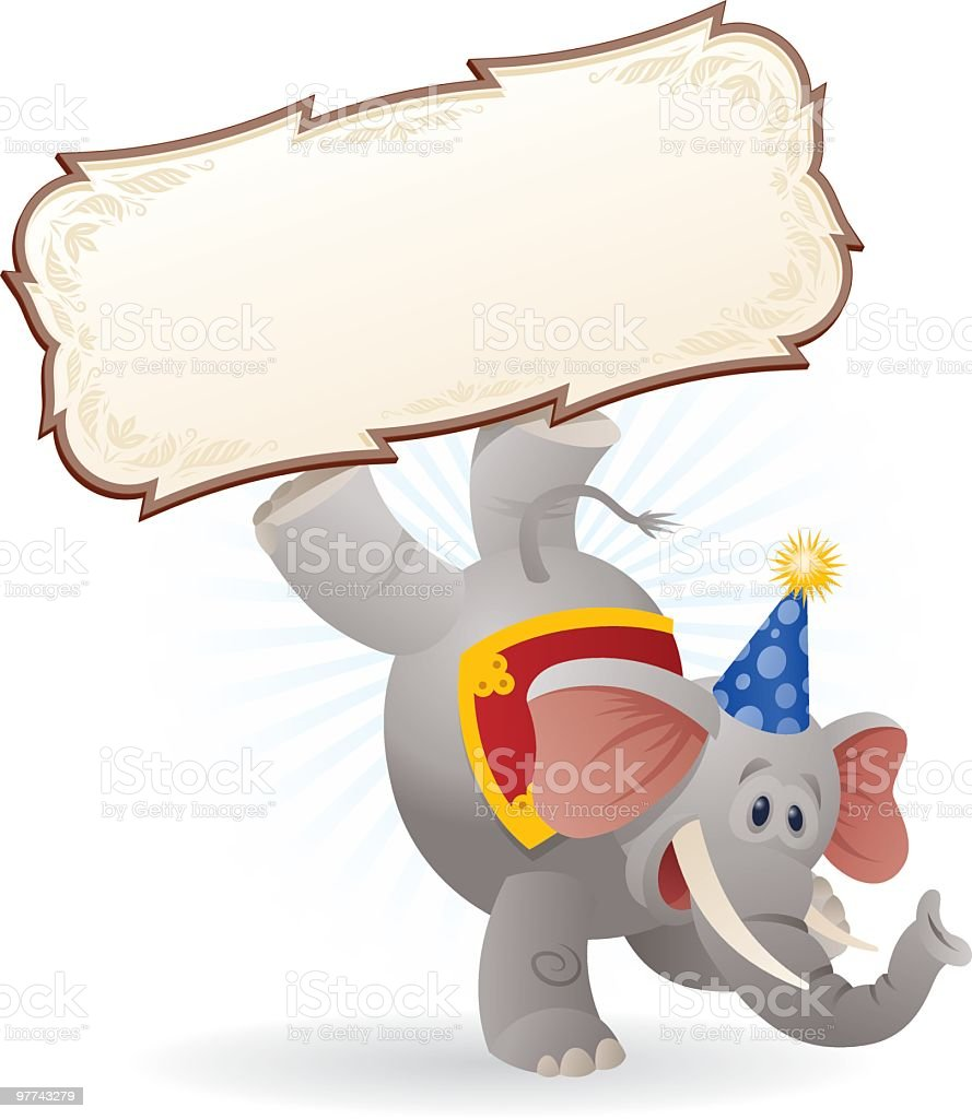 Circus Elephant with Sign vector art illustration