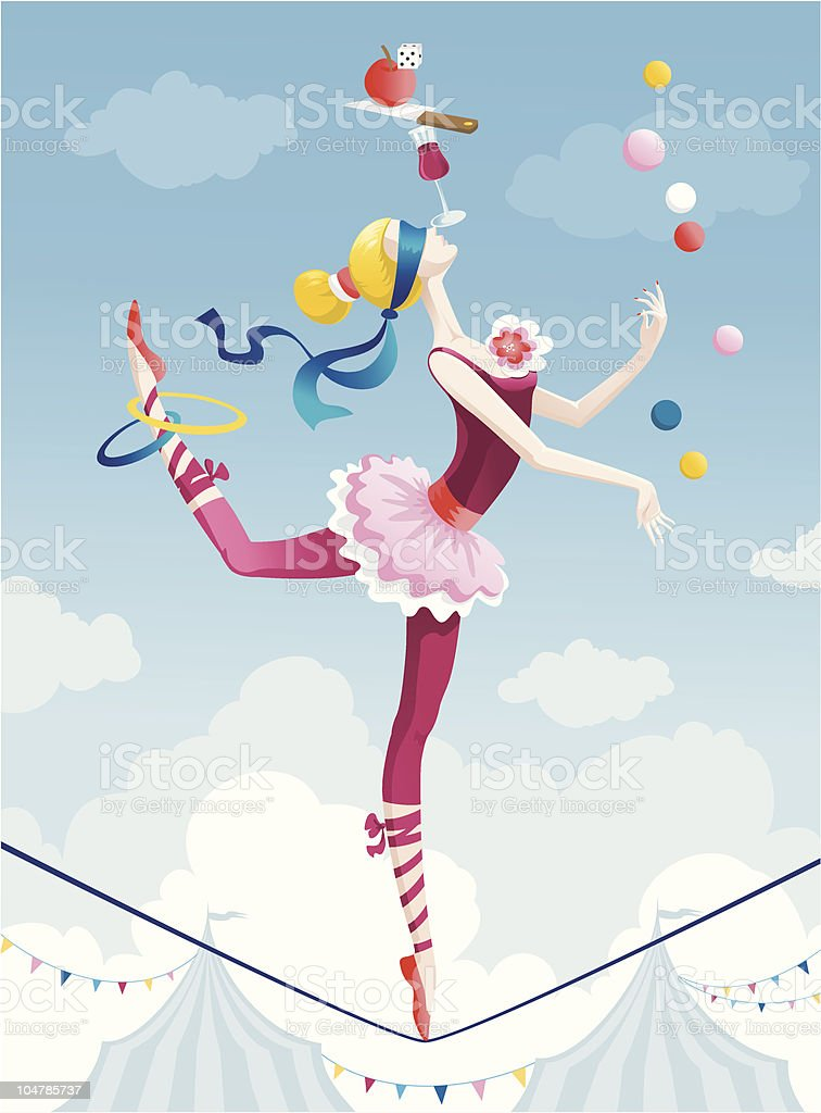 Circus girl vector art illustration