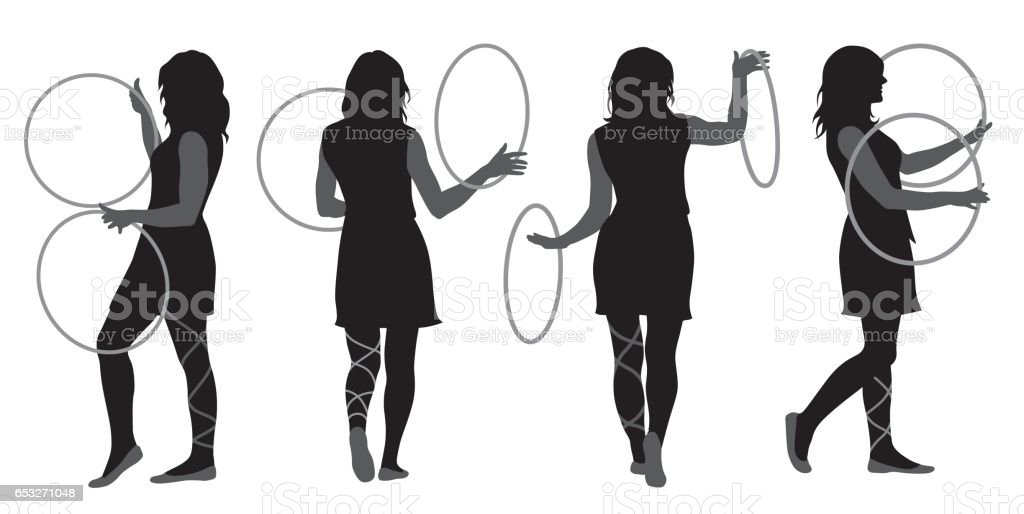 Circus Hoola Hoop Dance vector art illustration