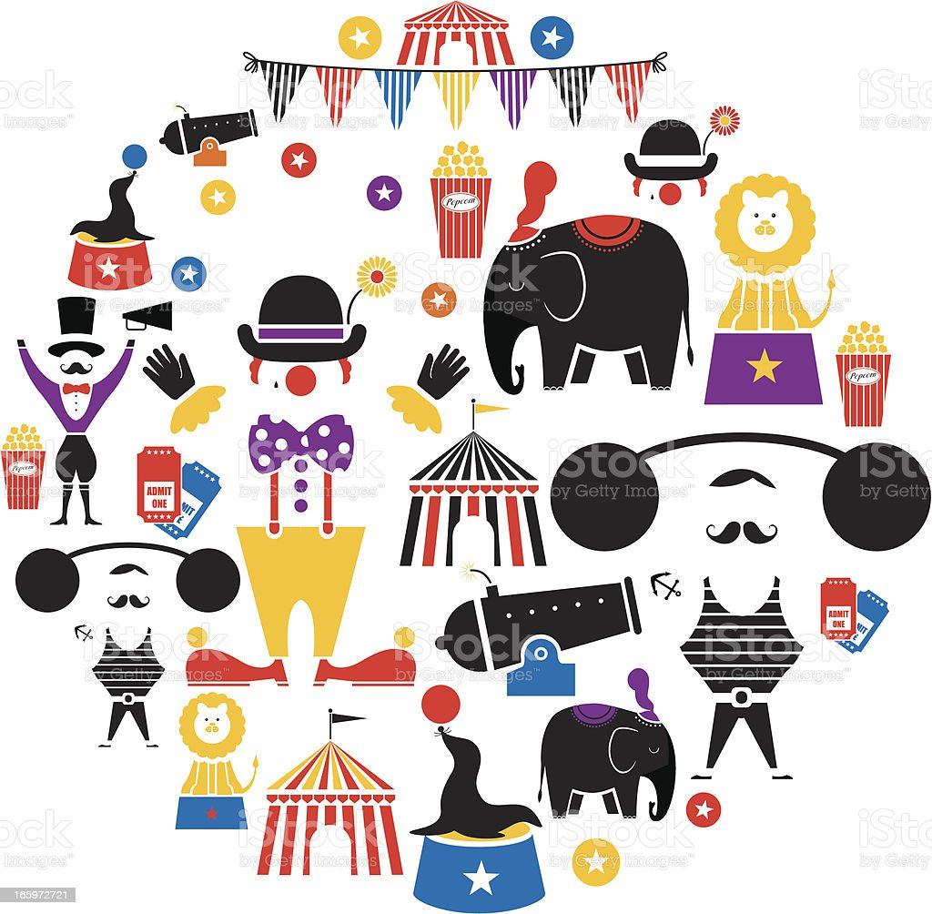 Circus Icon Set vector art illustration