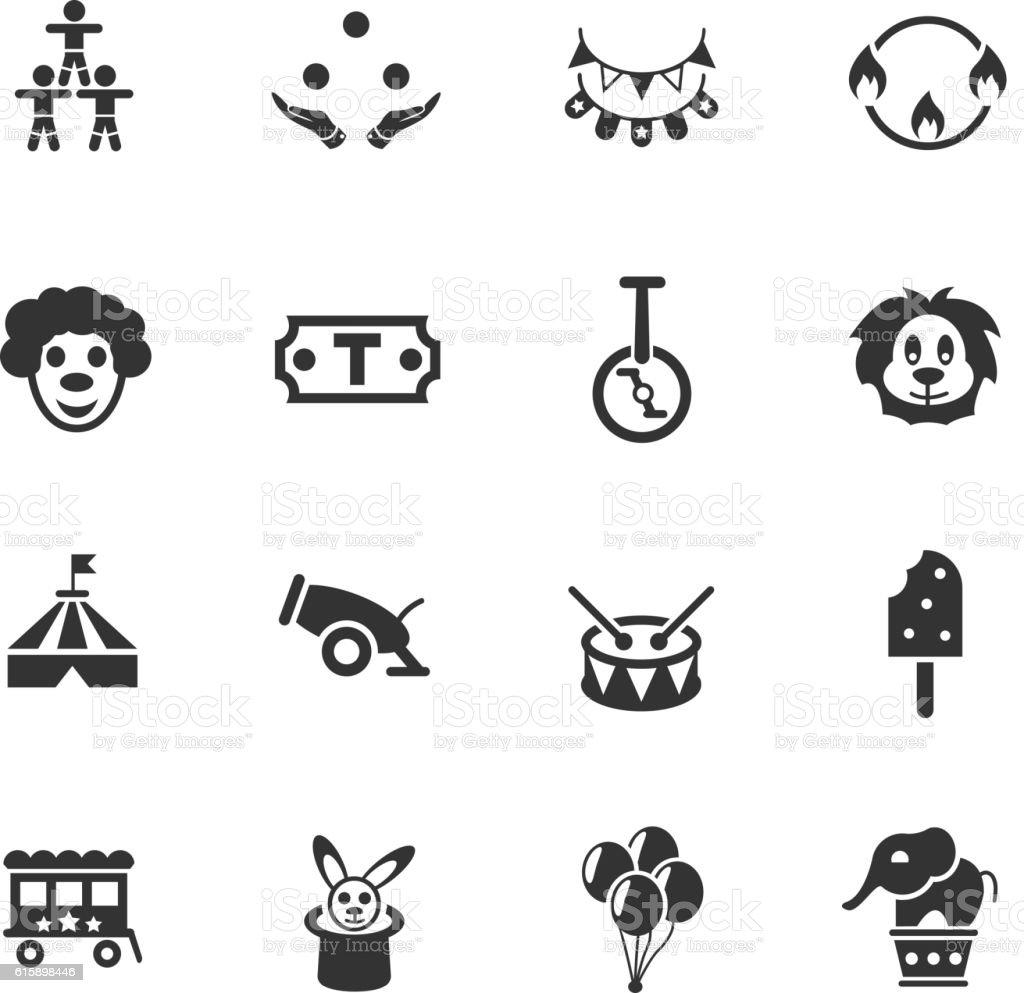 circus icon set vector art illustration