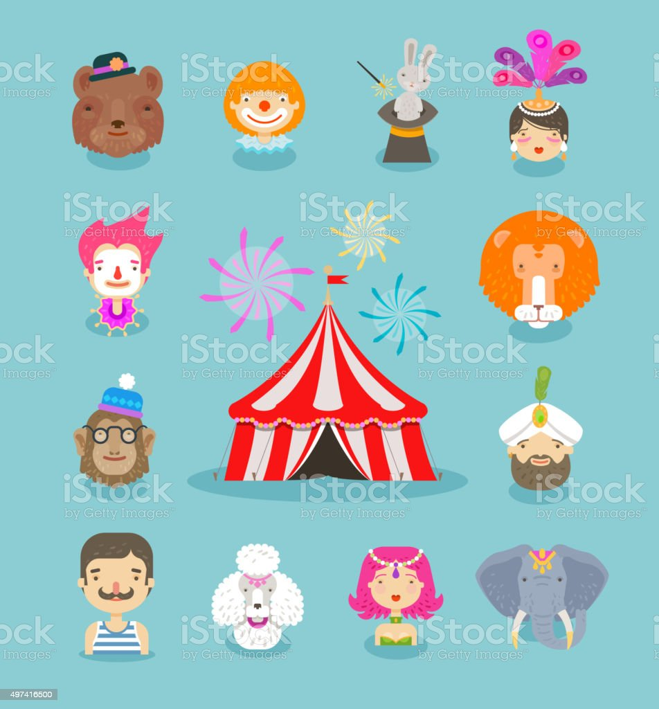 Circus icons set. Collection of elements clown, animals, tent vector art illustration