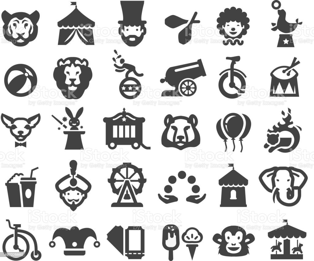 circus icons set. vector illustration vector art illustration