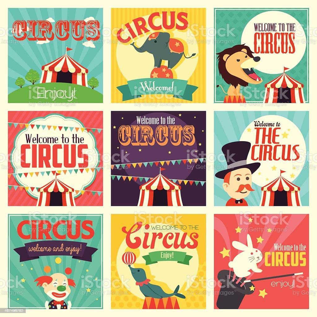 Circus icons vector art illustration