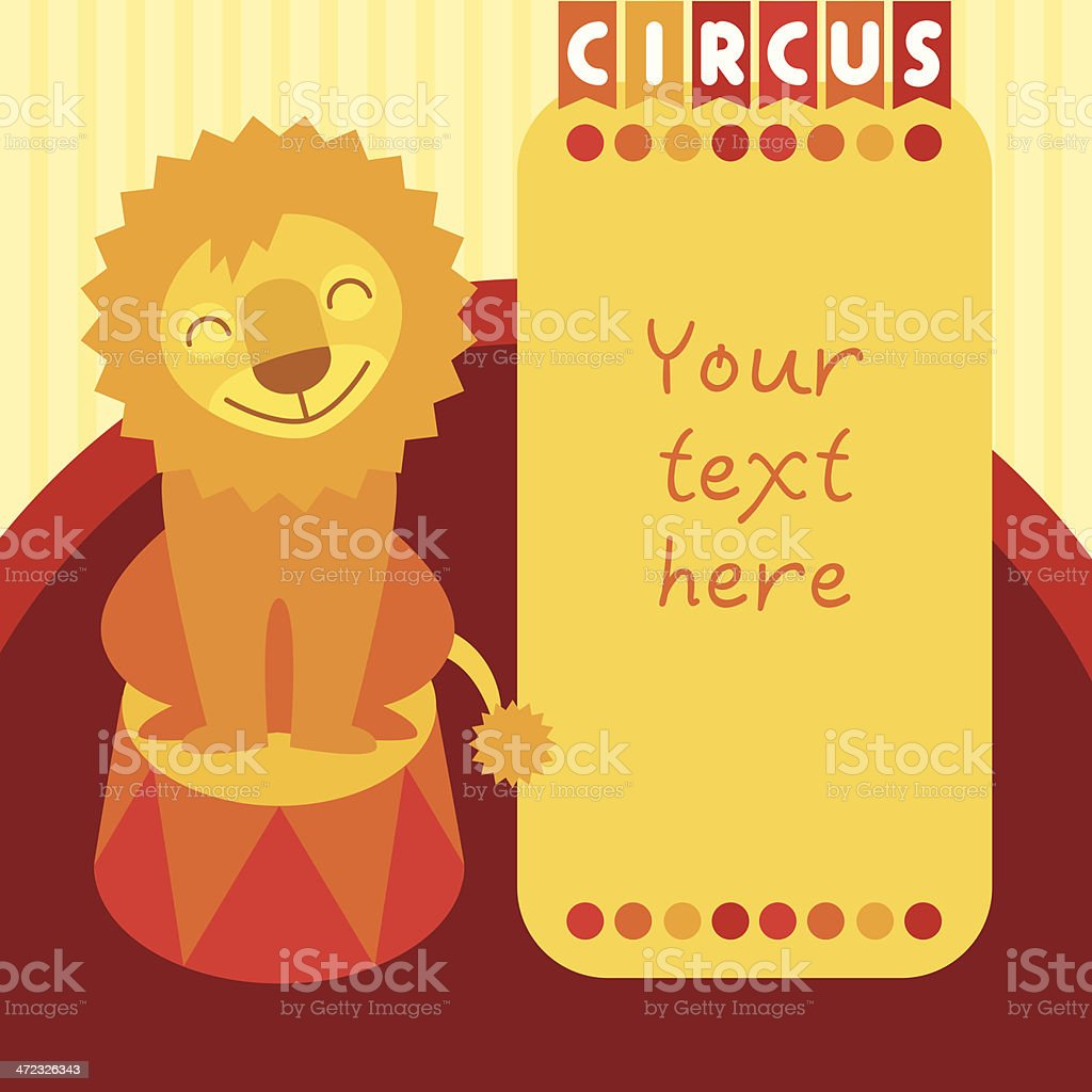 Circus lion sitting on pedestal royalty-free stock vector art