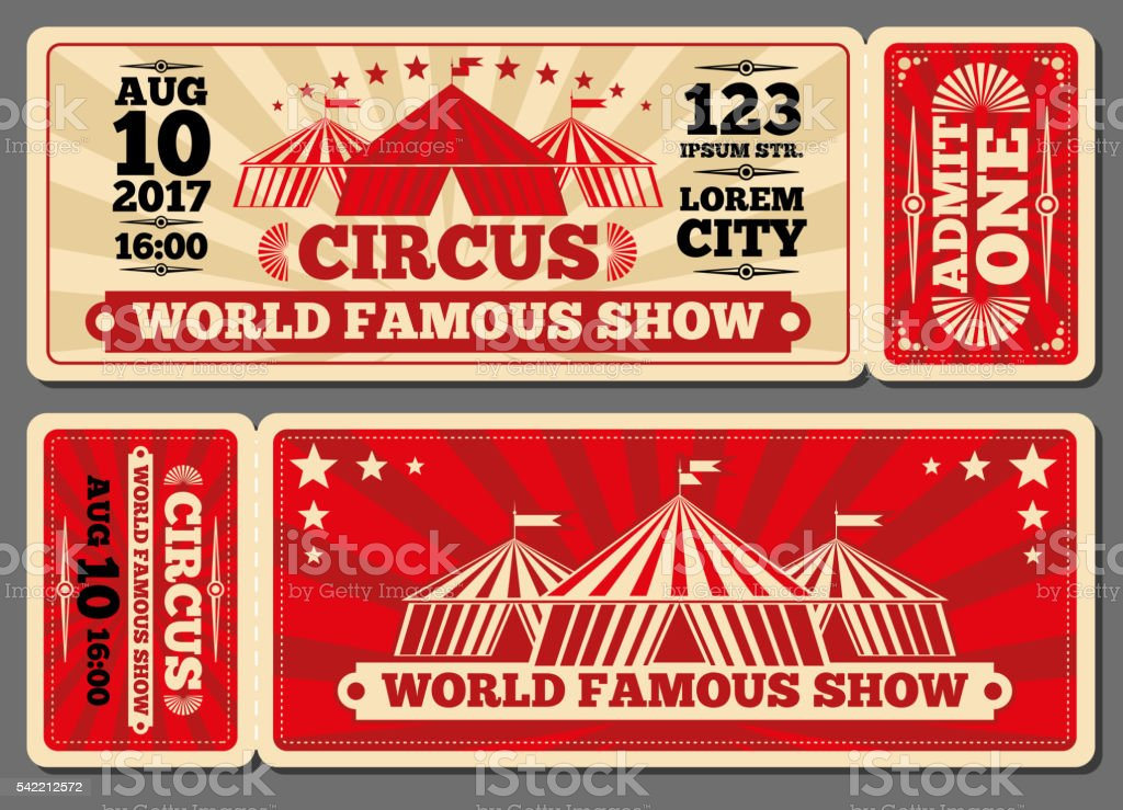 Circus magic show entrance vector tickets templates vector art illustration