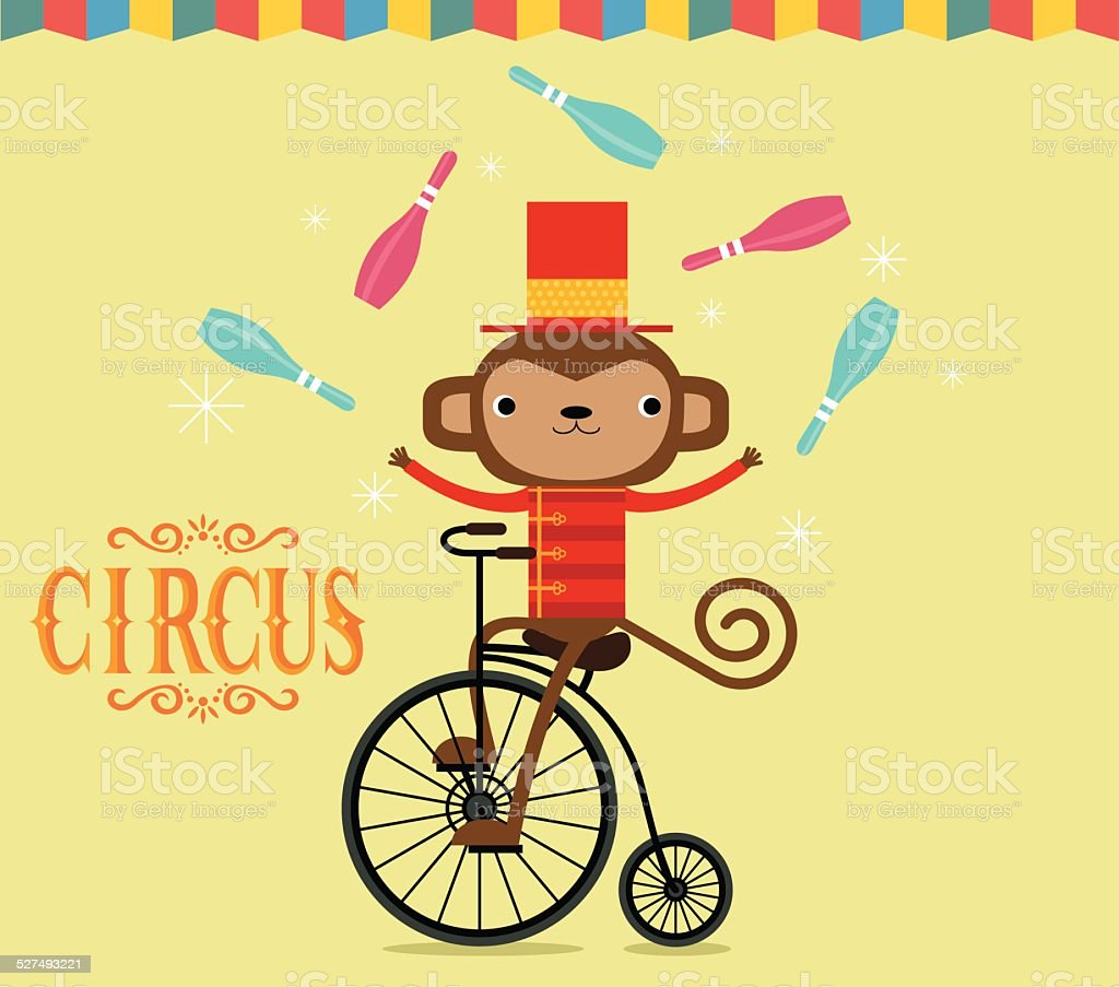 Circus monkey juggling vector art illustration