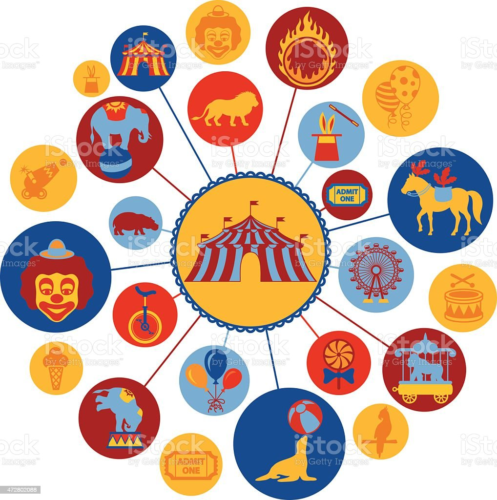 Circus Montage vector art illustration