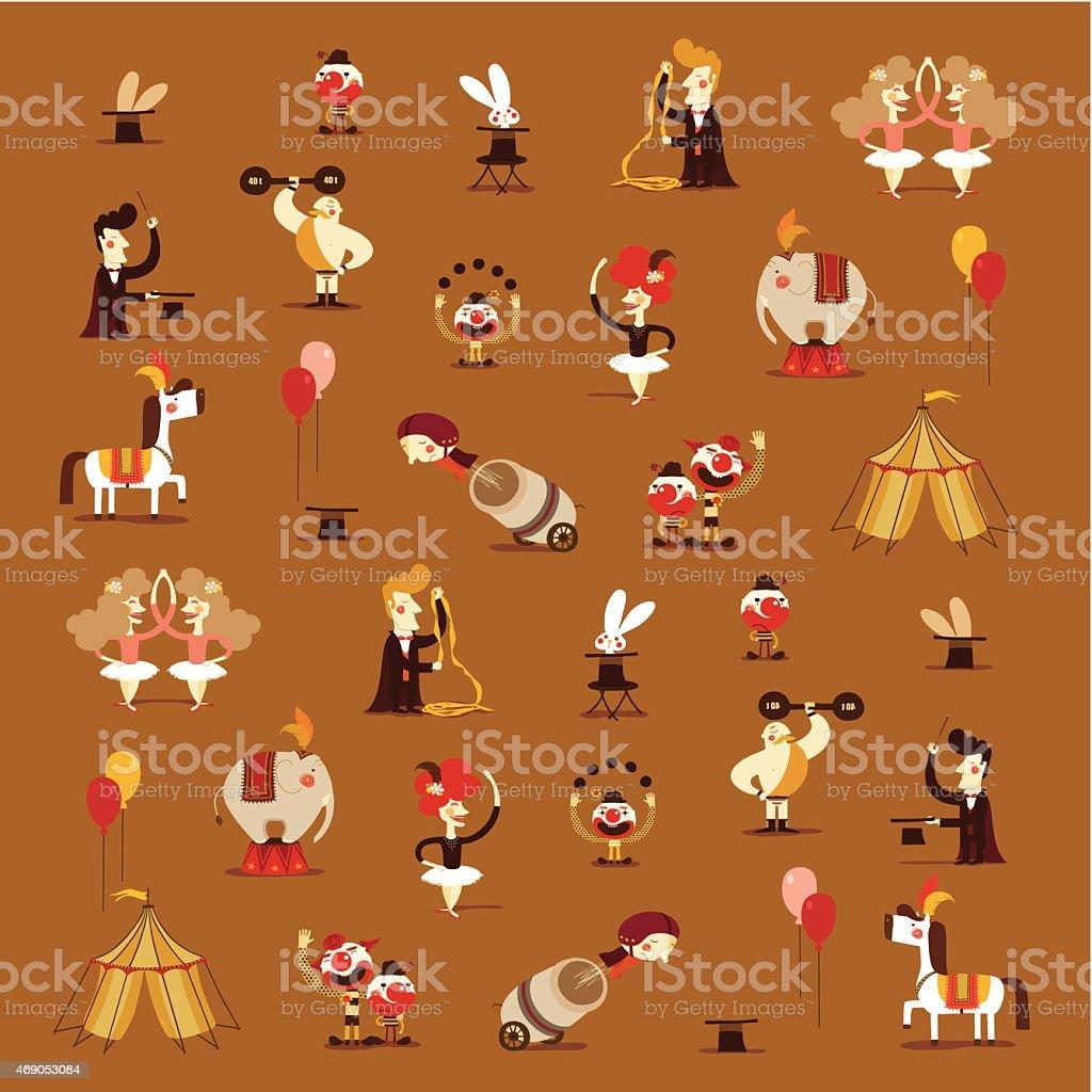 circus pattern vector art illustration