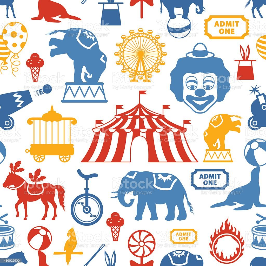 Circus Pattern vector art illustration