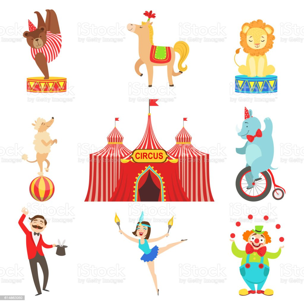 Circus Performance Objects And Characters Set vector art illustration