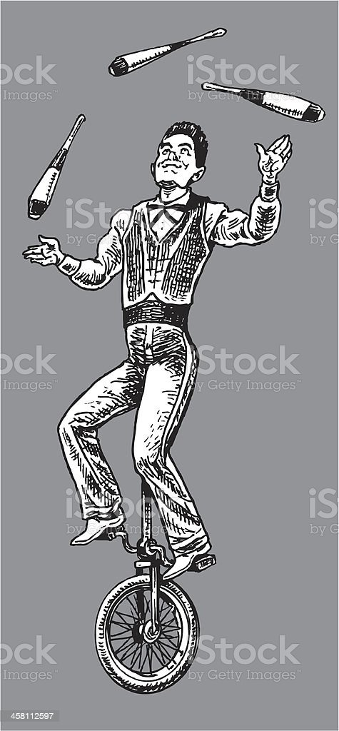 Circus Performer - Juggler vector art illustration
