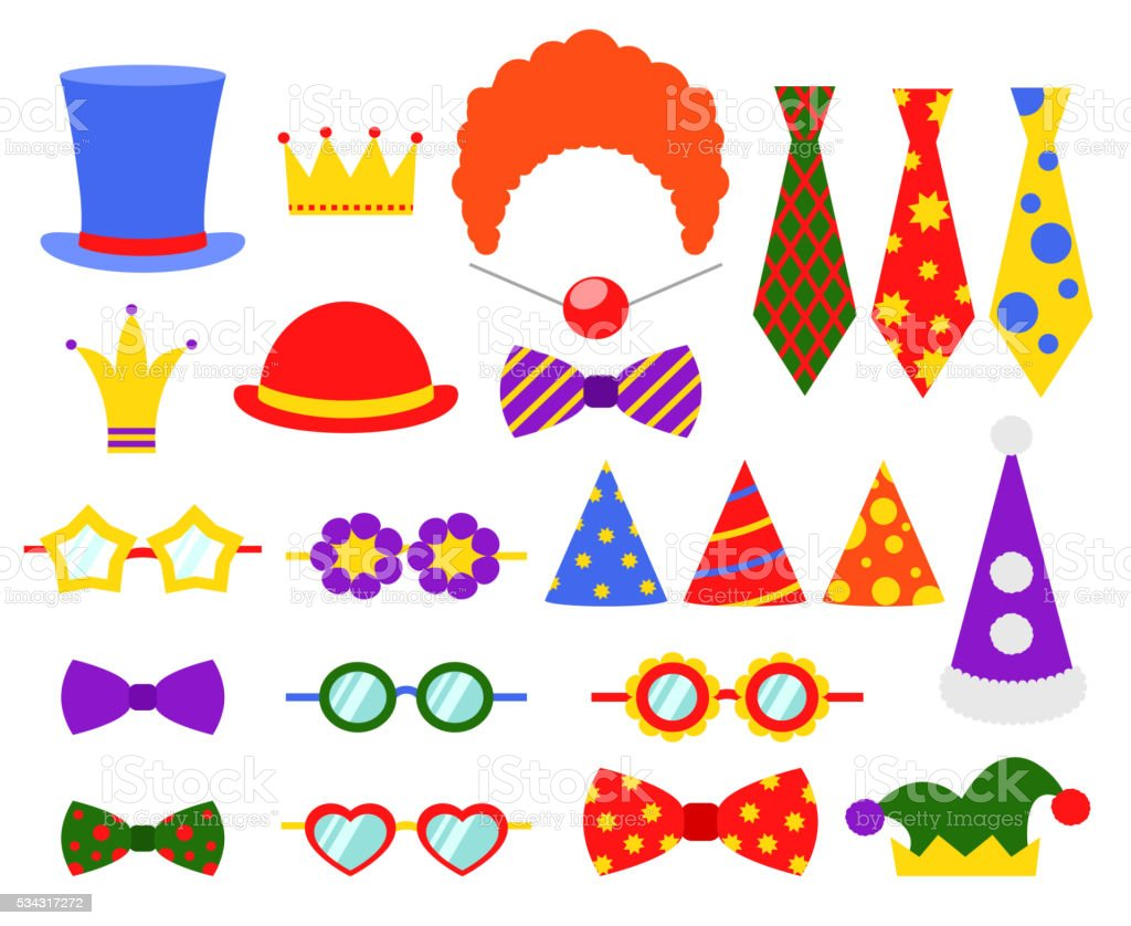 Circus photo booth vector set vector art illustration