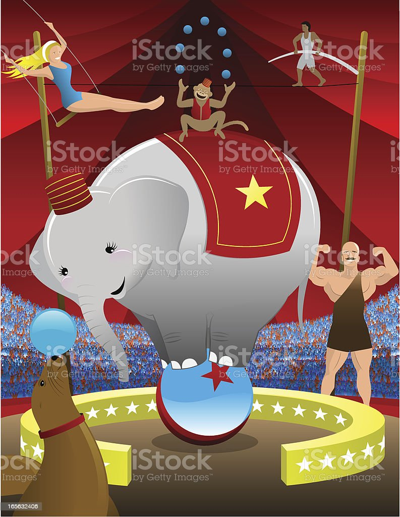 Circus Scene with Elephant Balancing on Ball and Performers vector art illustration
