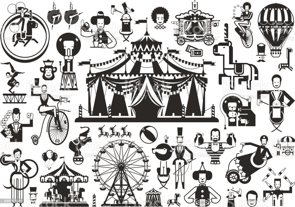 Circus set of icons vector art illustration