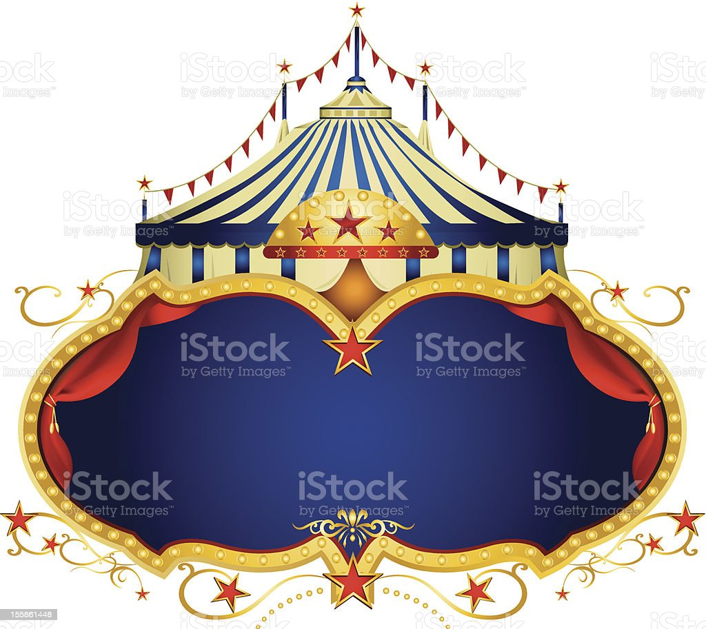 Circus sign with primary colors and circus tent on top royalty-free stock vector art