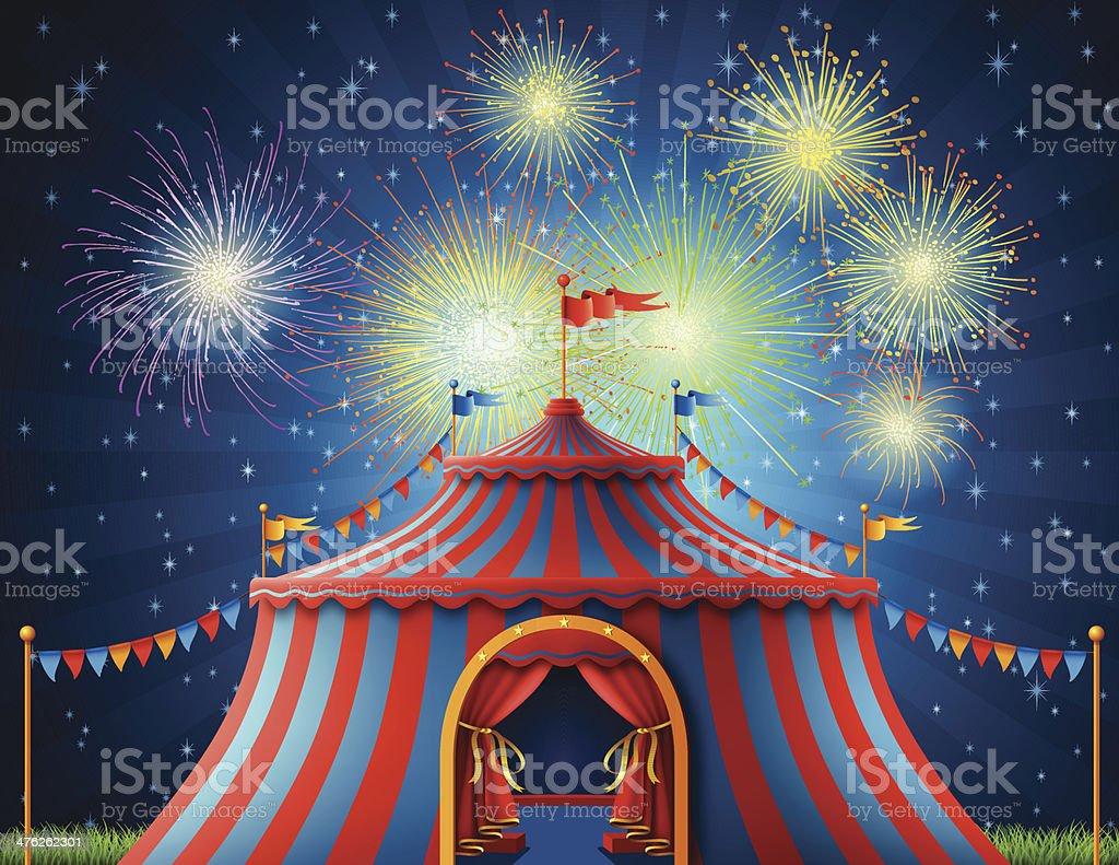 Circus Tent at Night vector art illustration
