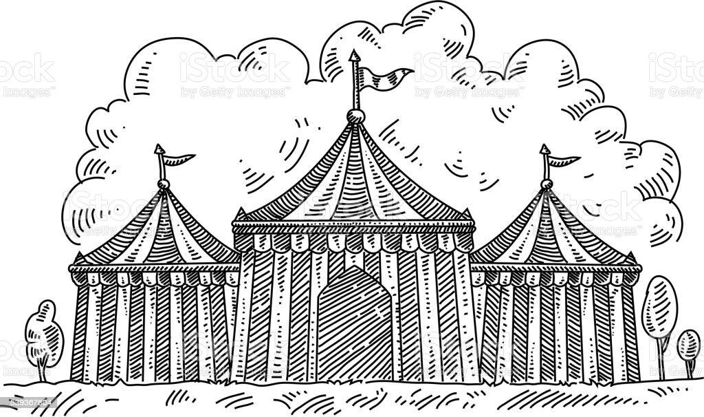 Circus tent Drawing vector art illustration