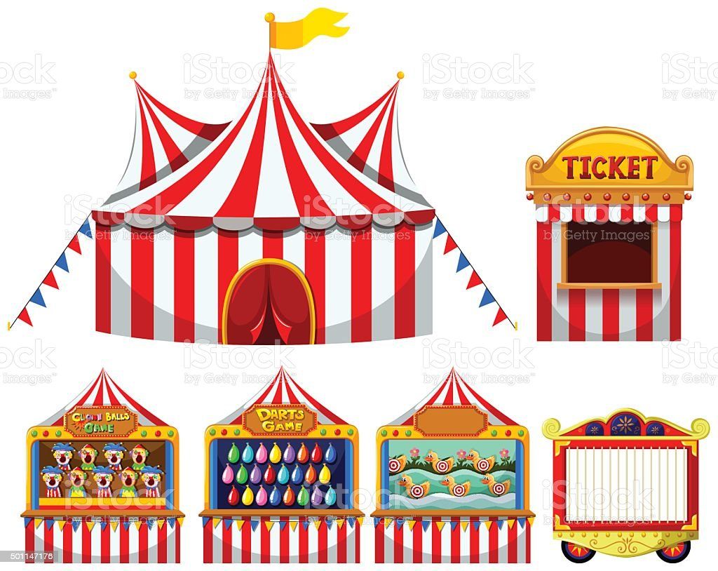 Circus tent  game boothes vector art illustration