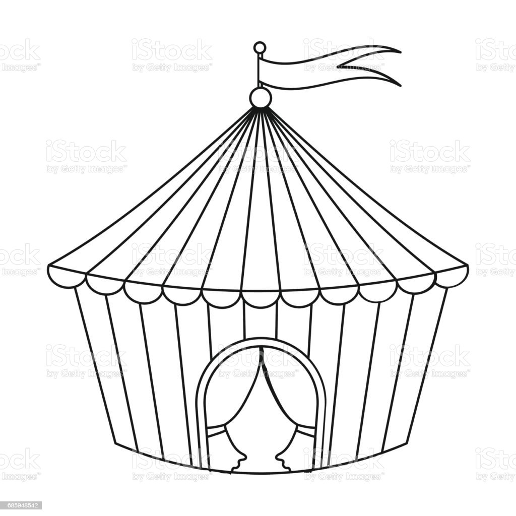 circus tent icon in outline style isolated on white background