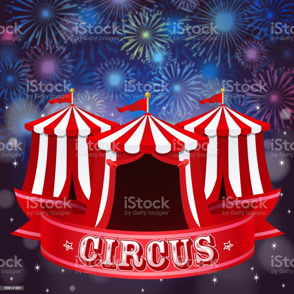 Circus Tent in Firework Background vector art illustration