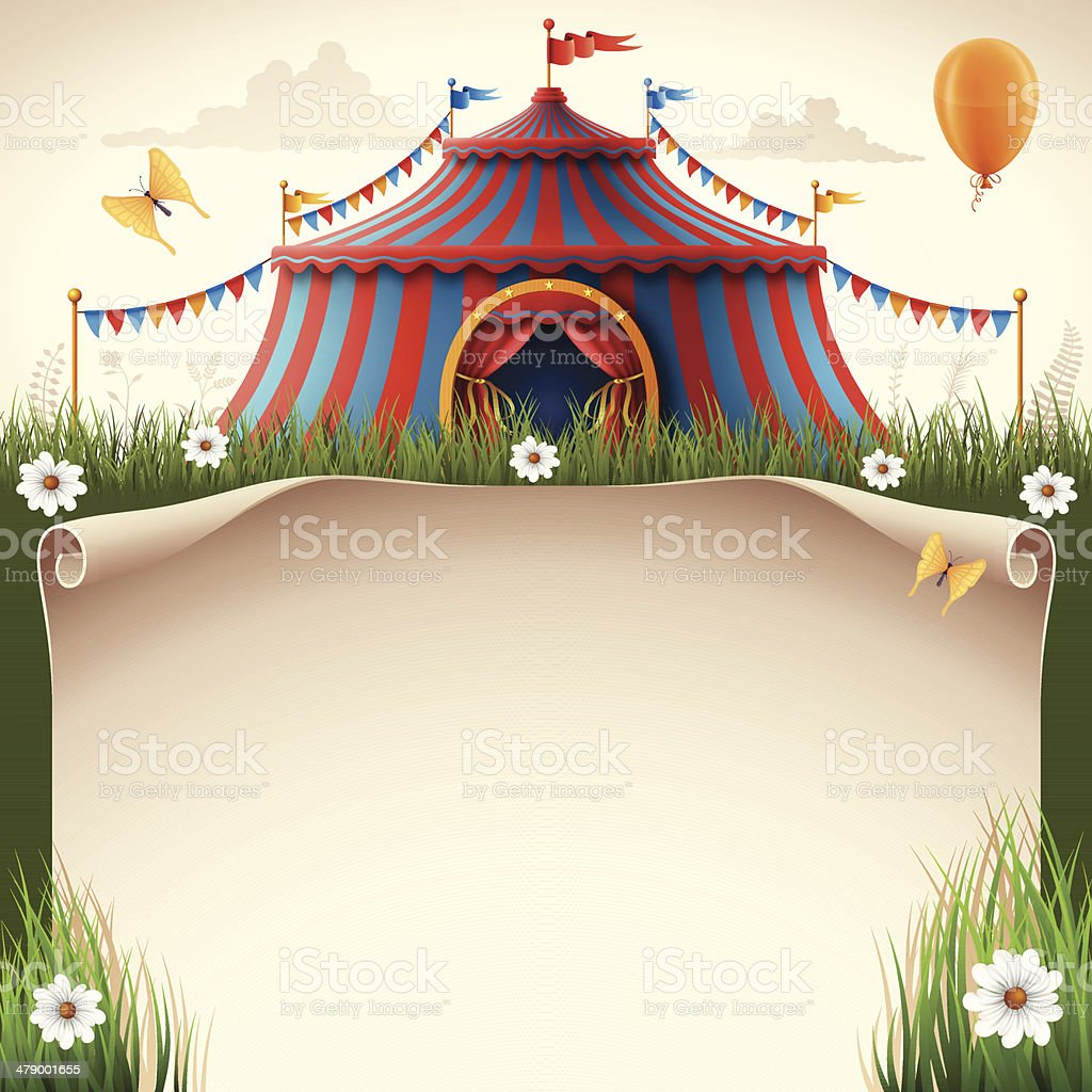 Circus Tent with Scroll vector art illustration