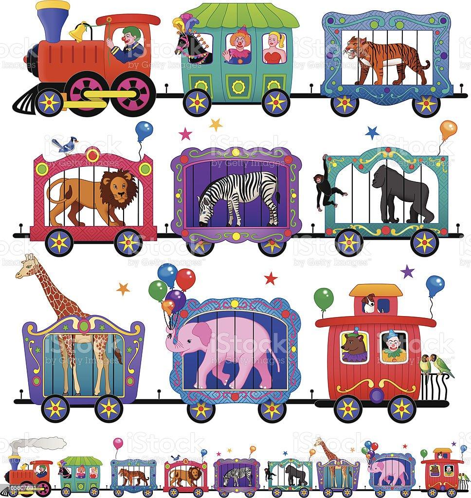 circus train vector art illustration