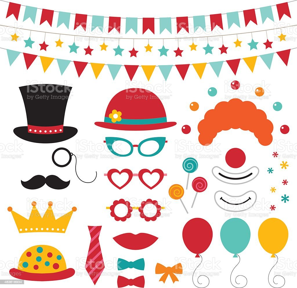 Circus vector photo booth props and decoration vector art illustration