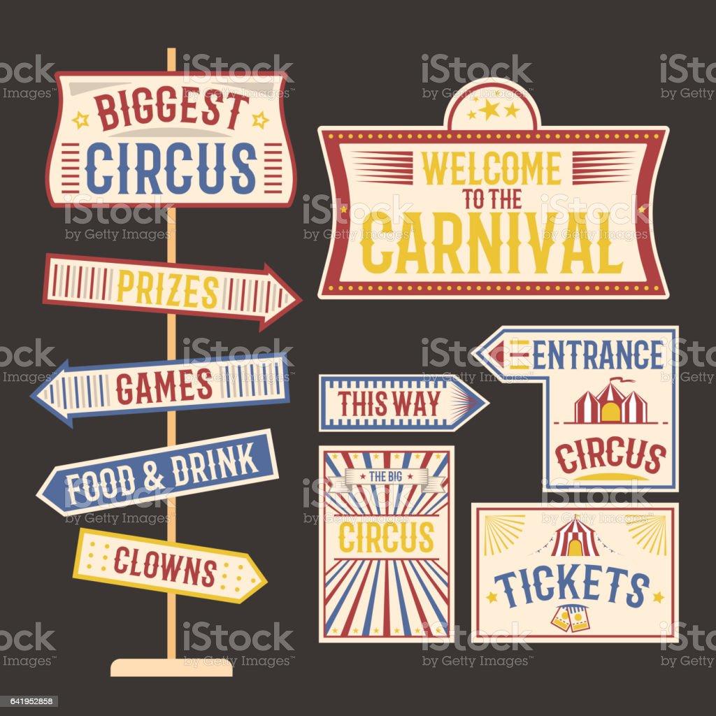Circus vintage label banner vector illustration vector art illustration