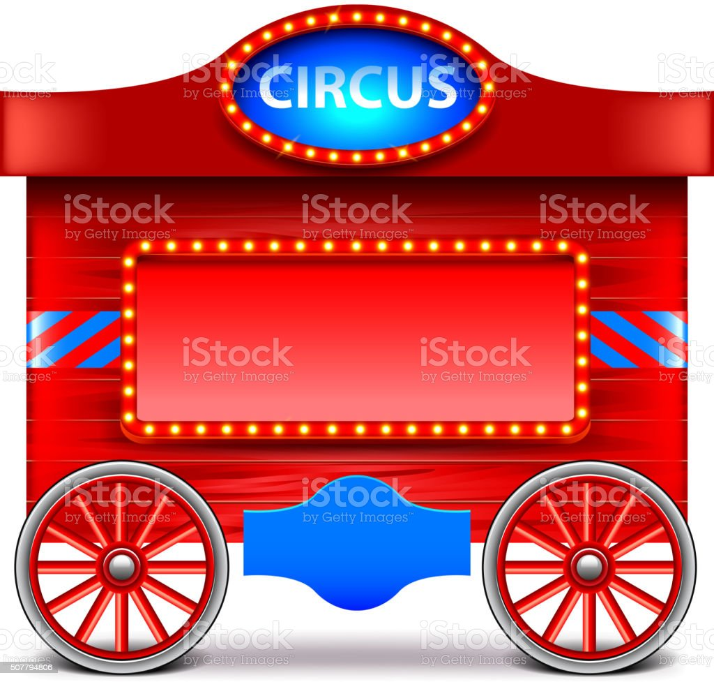 Circus wagon isolated on white vector vector art illustration
