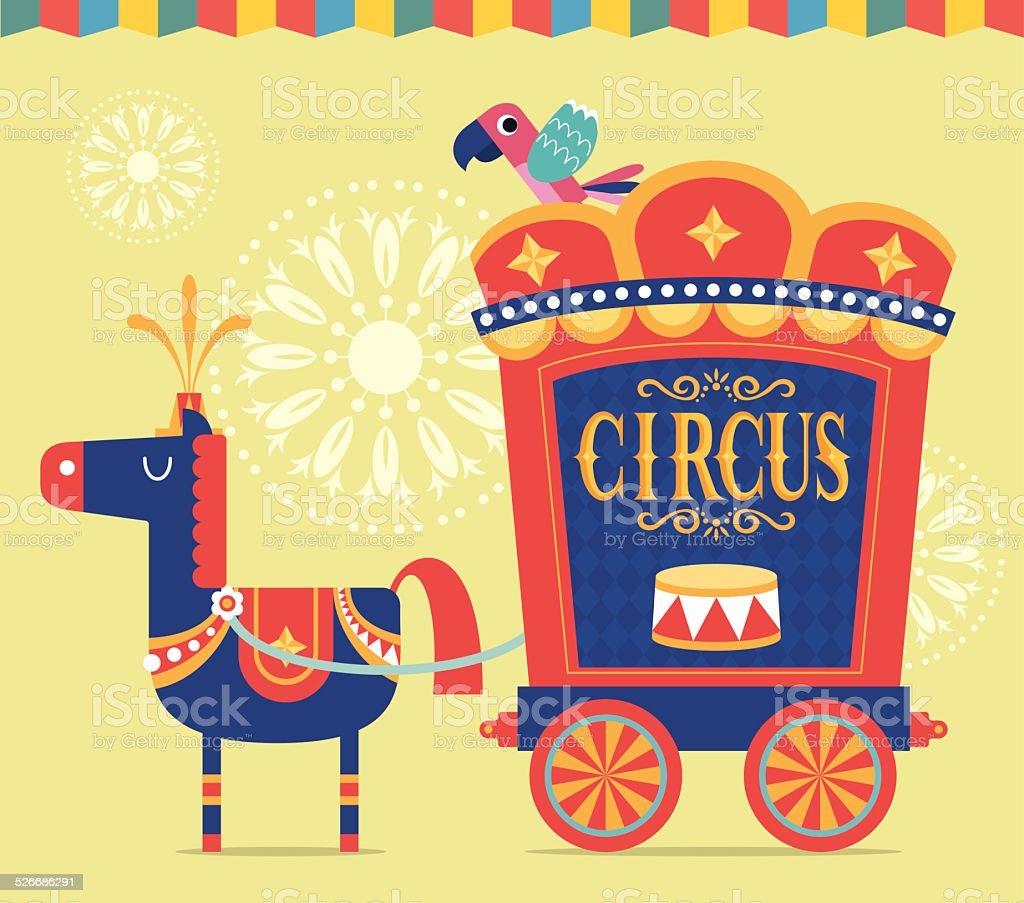 Circus Wagon vector art illustration