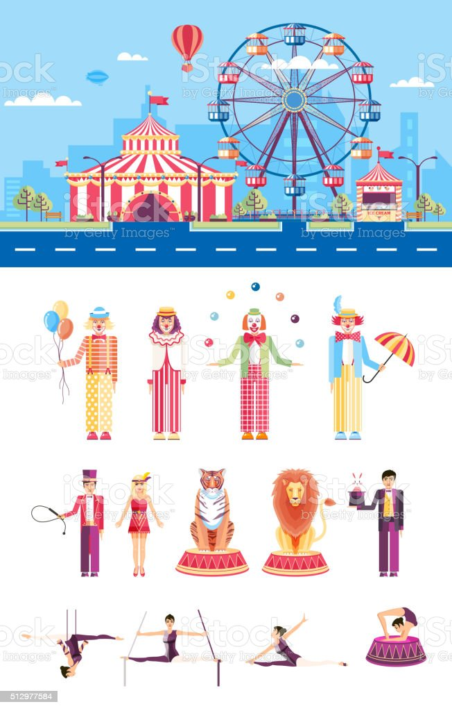 Circus with artists vector art illustration