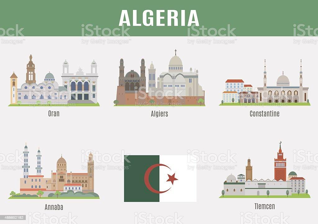 Cities in Algeria vector art illustration