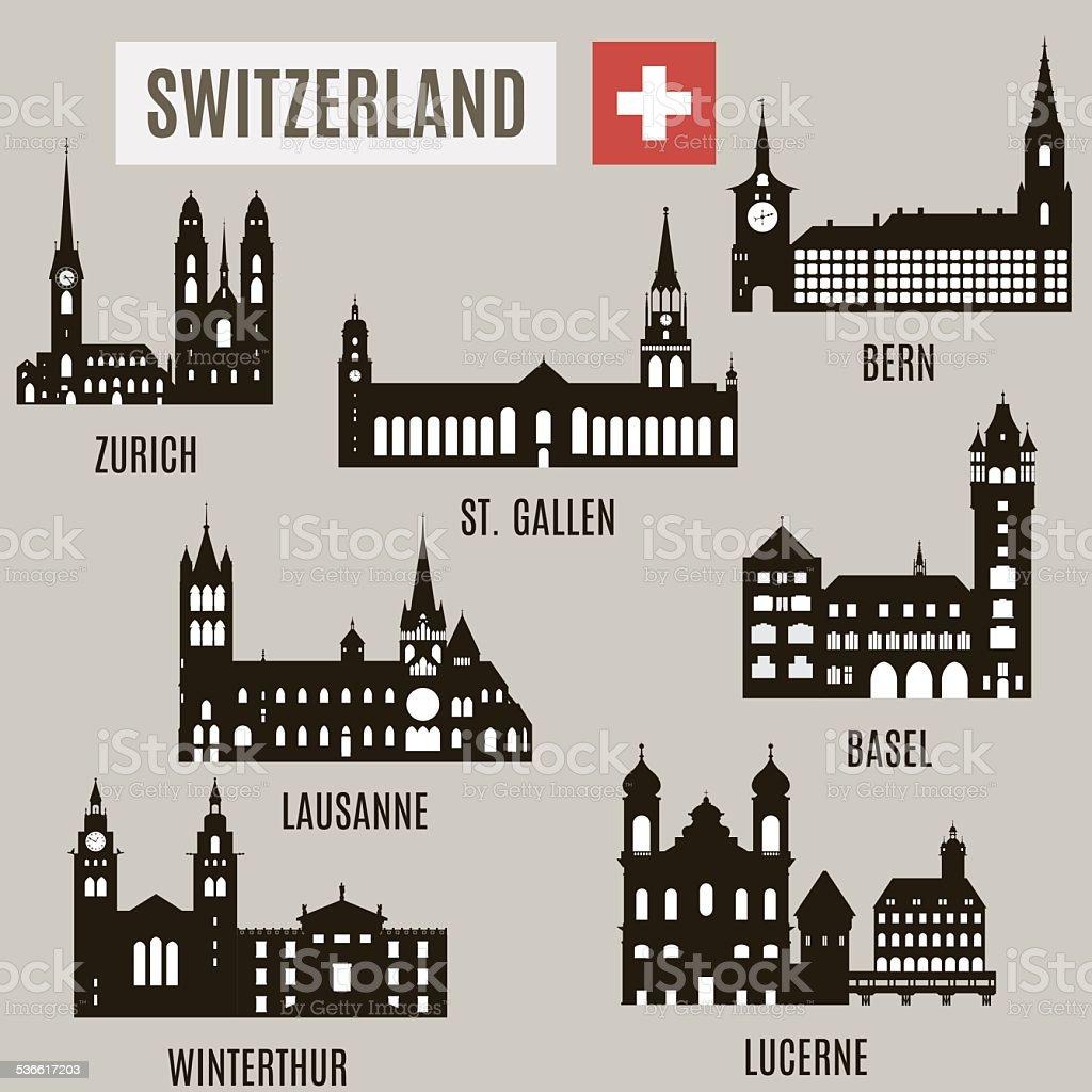 Cities in Switzerland vector art illustration