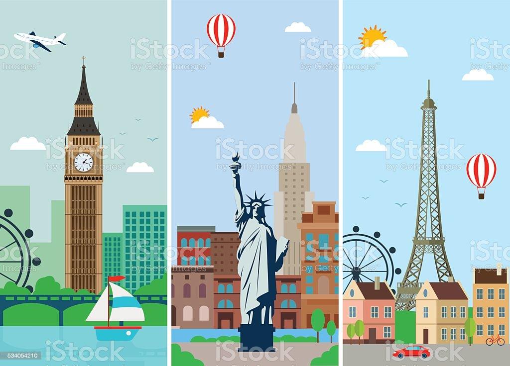 Cities skylines design with landmarks. London, Paris and New York vector art illustration
