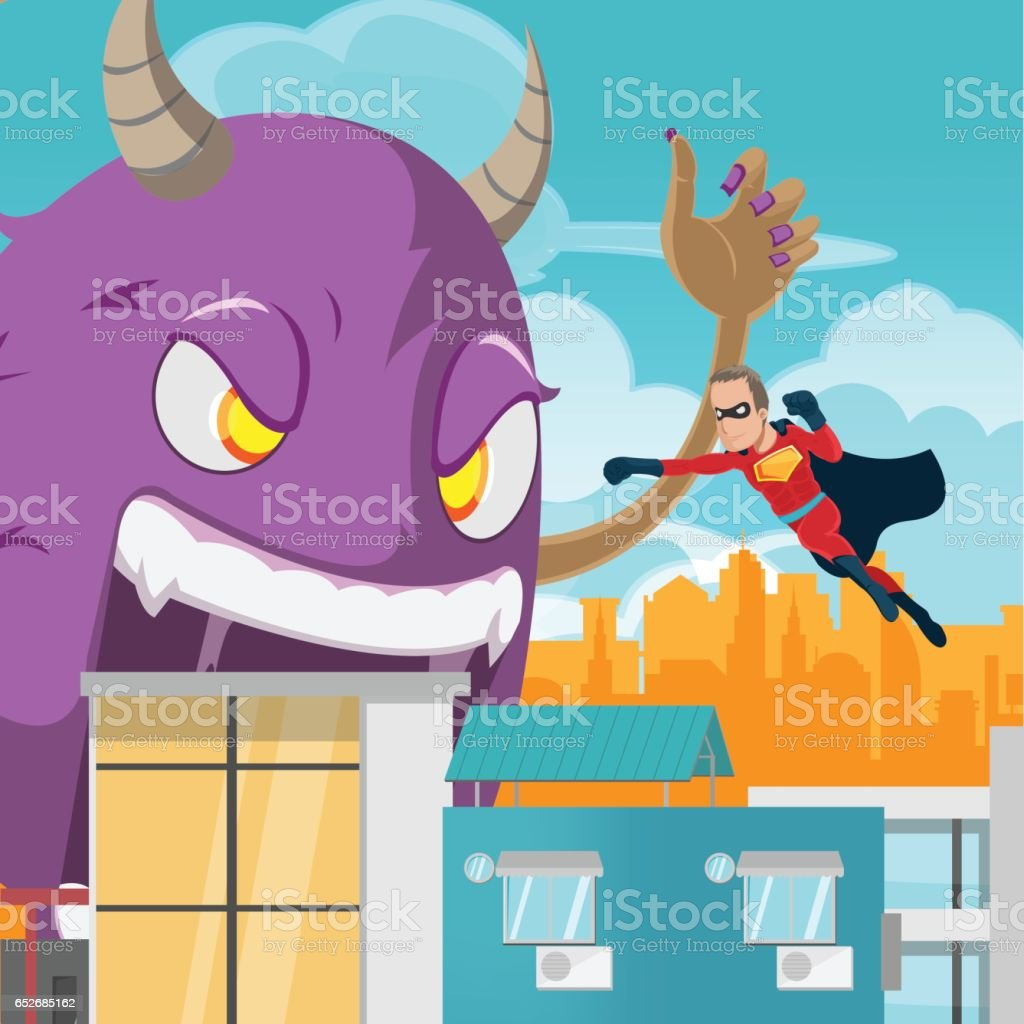 Cities Superhero Monster Battle Action Vector vector art illustration