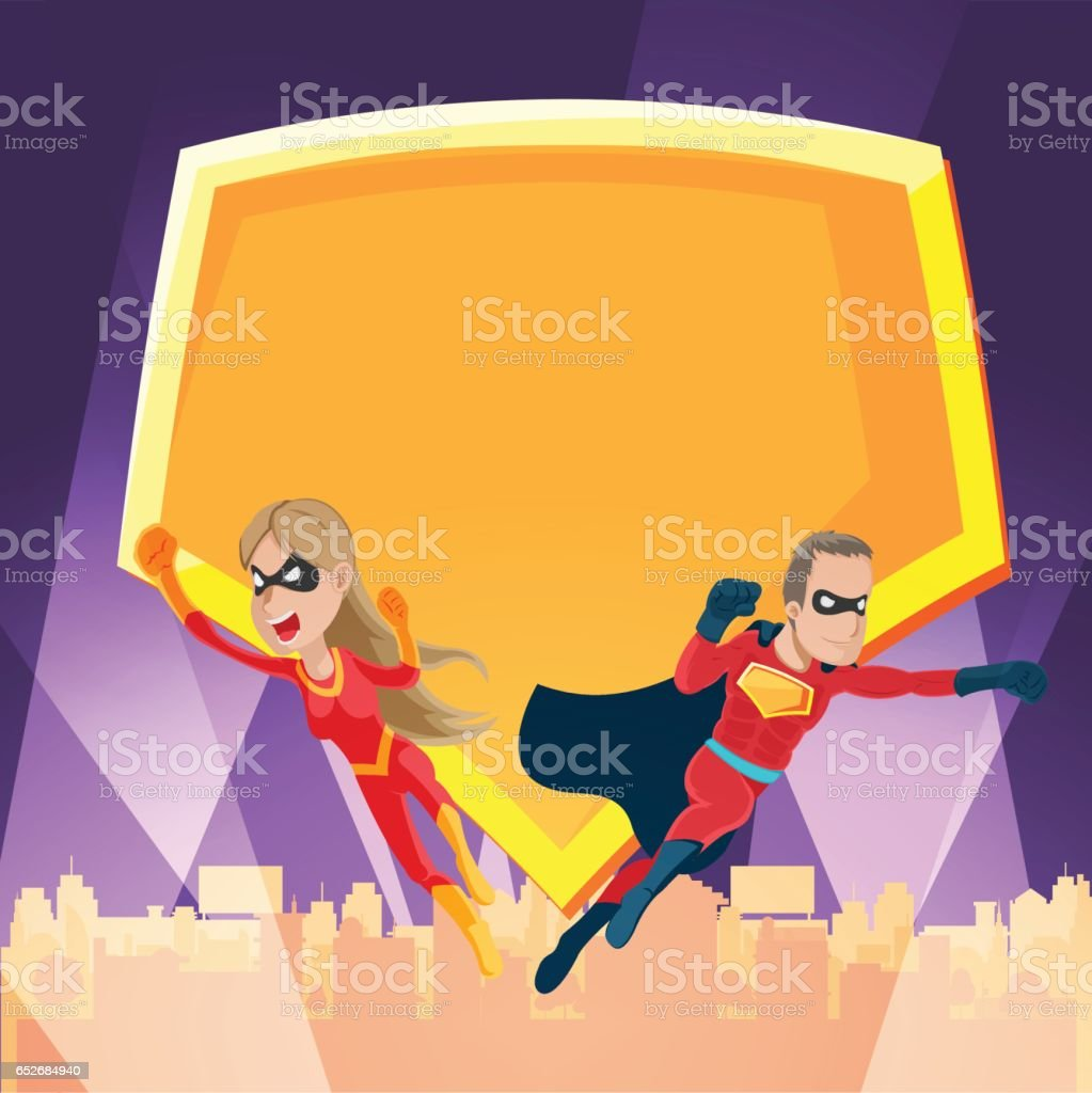 Cities Superhero Night Action Show Vector vector art illustration