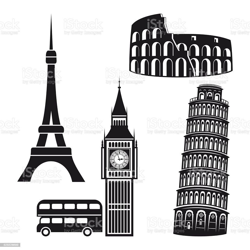 Cities symbols vector art illustration