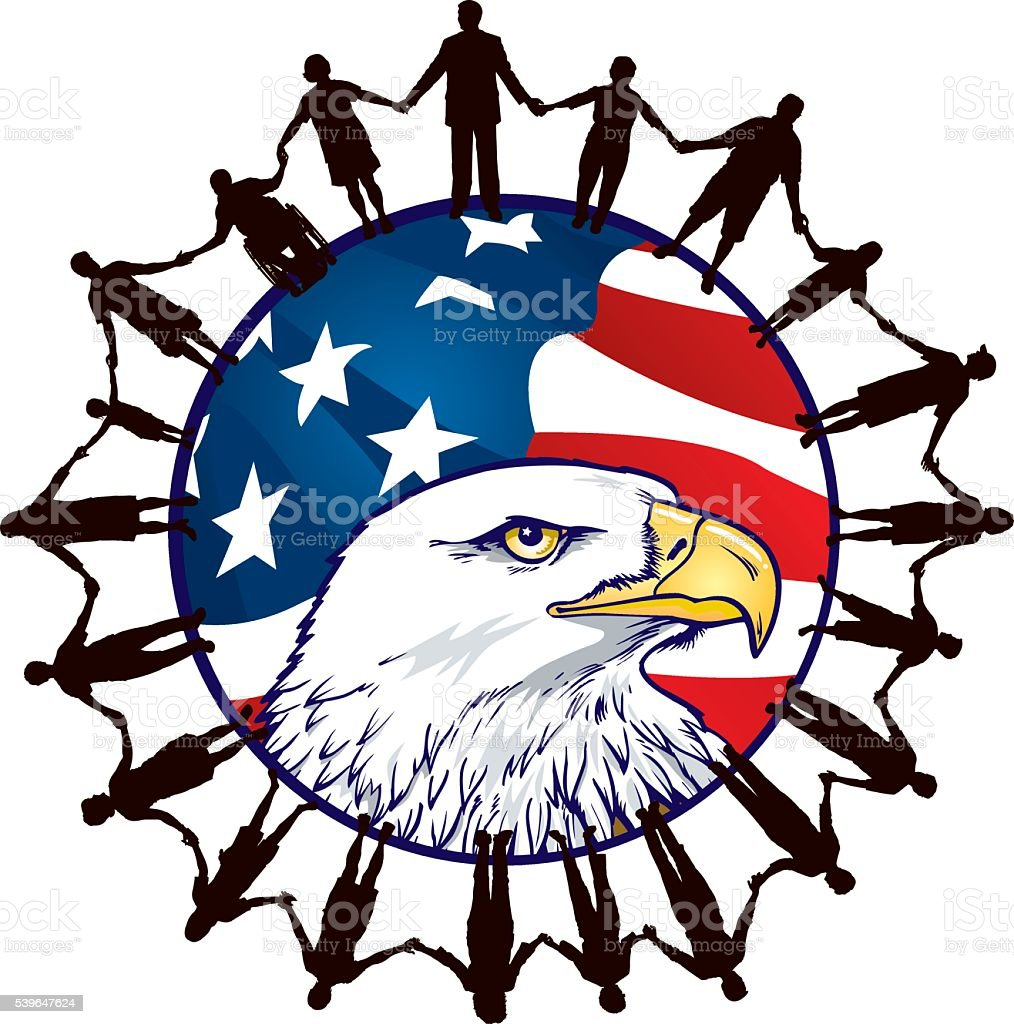 USA Citizens United with Flag and Eagle vector art illustration