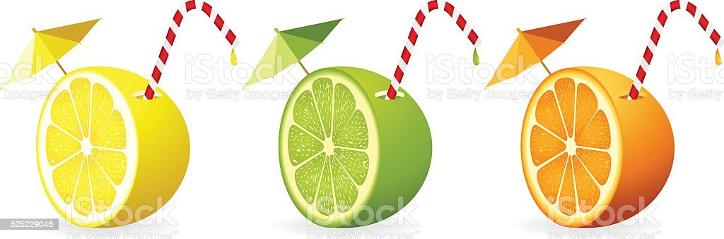 Citrus fruit cut in half with straw vector art illustration