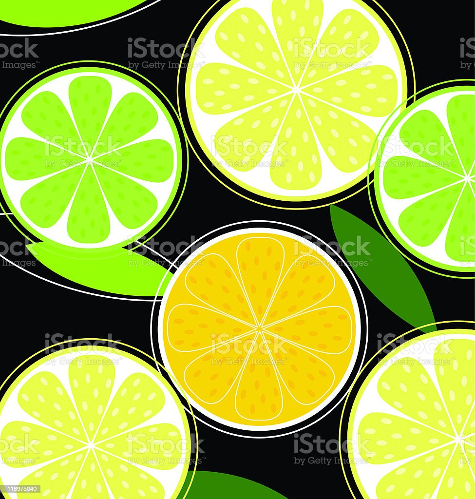 Citrus fruit on black background (vector) royalty-free stock vector art