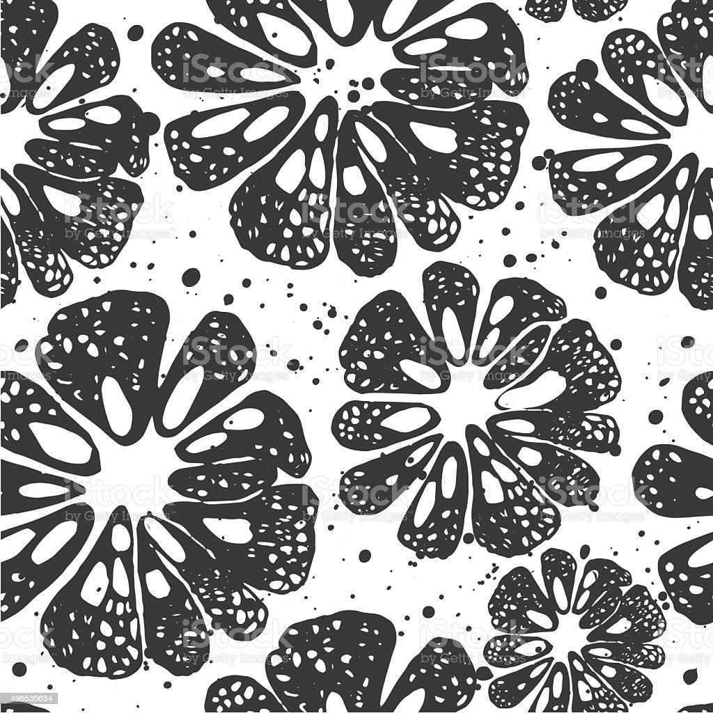 Citrus seamless background. Black and white pattern. vector art illustration