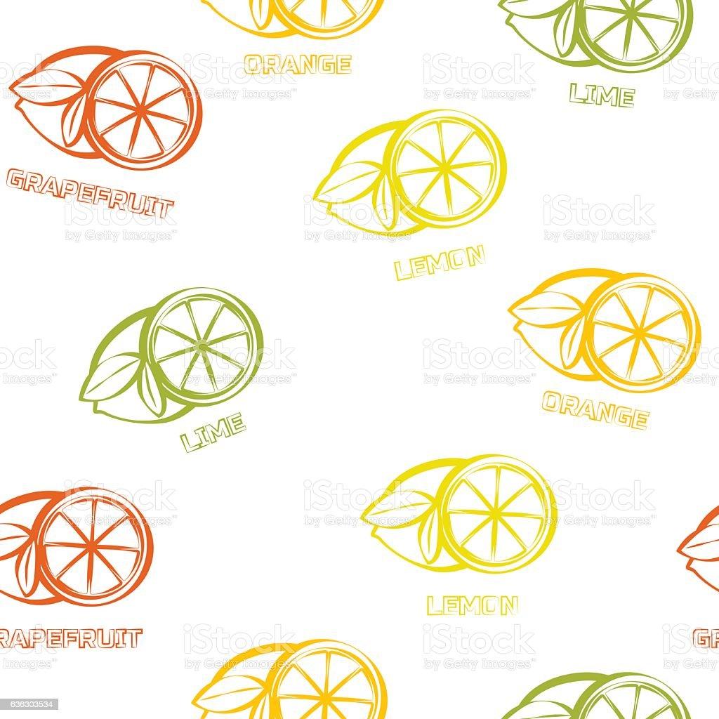 Citrus seamless pattern background vector art illustration